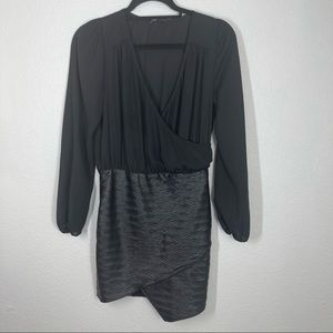 Donna Mizani Black Mini Dress Sheer Faux Leather S